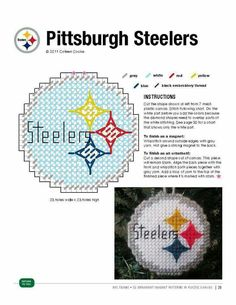 Pittsburgh steelers made pattern Plastic Canvas Coasters, Plastic Canvas Ornaments, Plastic Canvas Christmas, Plastic Canvas Crafts, Xmas Ornaments, Plastic Canvas Patterns, Football Crafts, Football Quilt, Football Canvas