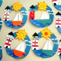 Best ocean art for kids crafts 31 ideas Boat Crafts, Ocean Crafts, Camping Crafts, Summer Crafts For Kids, Summer Art, Art For Kids, Summer Ideas, Preschool Crafts, Kids Crafts