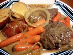 Slow Cooker Swiss Steaks With Beef Gravy, and Potatoes from Food.com:   this is a great dinner for a cool, cold evening,  it enough for 8 servings depending on how you decide to cut it.