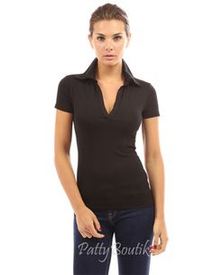 V Neck Short Sleeve Polo Shirt