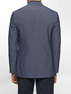 CALVIN KLEIN Calvin Klein Jacket Charcoal Pindot 100% Wool Slim ...