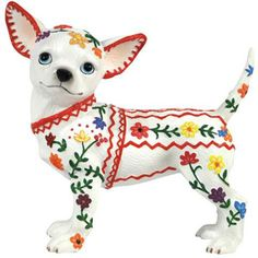 mexican chihuahua jaja que polo White Chihuahua, Chihuahua Art, Kittens And Puppies, Baby Puppies, Westland Giftware, Mexican Embroidery, Best Dog Breeds, Dog Daycare, Dog Boarding