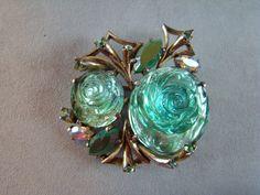RARE!! SCHIAPARELLI Molded Glass Rose Flower & Rhinestone PIN #Schiaparelli