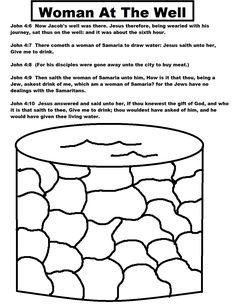 Lesson 15 Woman at the Well: John 4 - color page of Jesus and the ...