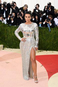 Pin for Later: See All the Stunning Met Gala Arrivals Everyone's Still Talking About Kim Kardashian Wearing custom Balmain and custom Lorraine Schwartz jewels, totalling $4.5 million.