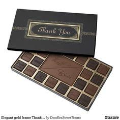 Elegant gold frame Thank you box of chocolate