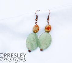 Apple Jasper & Green Twisted Jade Earrings by KJPresley Designs  http://www.kjpresleydesigns.com/ #jewelry #earrings @KJPresleyDesgns