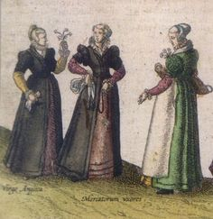 Joris Hoefnagel, Nonsuch Palace 1569 - merchants wives and countrywoman, detail