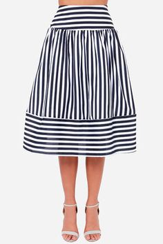 JOA Striped Skirt - Navy Blue Skirt - Cute Skirt - $87.00 #featuredpin