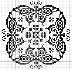 Round 09 | Free chart for cross-stitch, filet crochet | gancedo.eu
