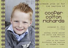 Baptism. Came across this invite while searching for baptism ideas. Pretty sure I know this kids parents.