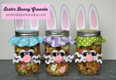 "Bunny Granola in a Mason Jar ...I just like the cute decorations for any bunny theme ....could use with lesson-""Dust Bunnies of the Heart"""