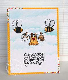 Congrats to Your Super Cute Family card by Michele Boyer for Paper Smooches - Pip Squeaks stmaps set, Bee Mine stamps and dies, Waves die