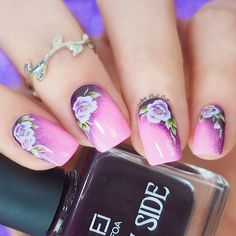 Hi girls! Easy floral mani using water decals  @essiepolish 'Boom boom room'  @foacosmetics 'Maleficent'  Flower water decals  @urbannailart UNA 'Speed Up' top coat  Mont Marte brush and liquid latex for the clean up