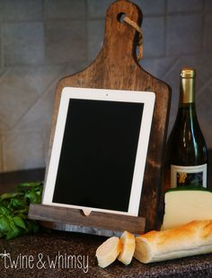 Rustic Ipad (tablet)/cookbook Stand, Cutting Board Style