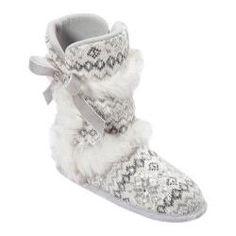 Women's Dearfoams Sequin Fair Isle Boot White Multi