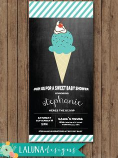 Ice Cream Baby Shower Invite Chalkboard Baby by LaLunaDesigns