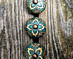 Vintage Inspired, Antiqued Teal Blue, Floral Drawer Knobs by MagicalBeansHome.com -or-visit our Etsy shop, MagicalBeansHome!