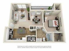Superior 842 Sq Ft. One Bedroom, One Bath Floor Plan