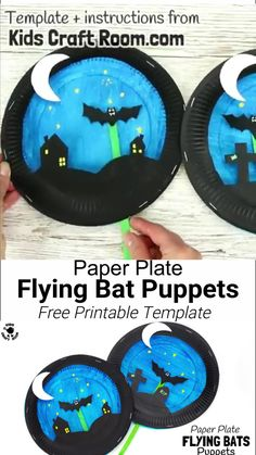 halloween kids crafts PAPER PLATE BAT PUPPETS - (Free printable templates) Such a fun Halloween craft for kids! This interactive paper plate craft has a bat puppet that flies in a night sky. A great bat craft to inspire imaginative play and story telling. Theme Halloween, Halloween Arts And Crafts, Halloween Crafts For Toddlers, Halloween Tags, Fun Crafts For Kids, Toddler Crafts, Preschool Crafts, Holiday Crafts, Art For Kids