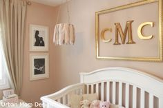 Gold, pinks, creams and whites for a baby girls nursery. So warm and inviting.