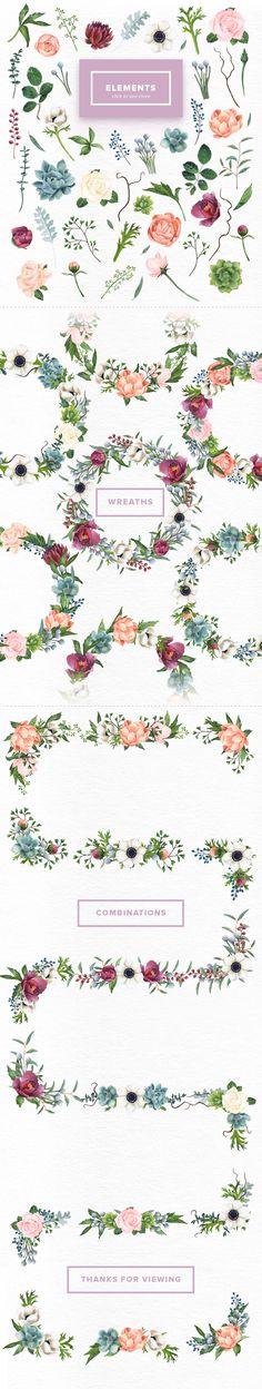 Watercolor Flowers Mix by Kotulska on @creativemarket