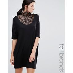 Y.A.S Tall Victorian Lace Tunic With High Neck (€35) ❤ liked on Polyvore featuring tops, tunics, black, high neck top, button tunic, victorian top, tall tops and high neck lace top