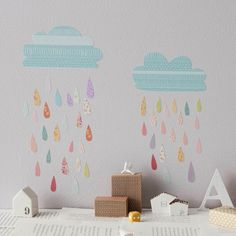 Wall stickers Summer Rain (Reusable and removable fabric interactive wall decals, not vinyl) - Summer Rain