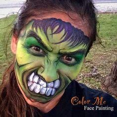 Hulk Face Painting Makeup - Color Me Face Painting Hulk Face Painting, Face Painting For Boys, Body Painting, Face Paintings, Amazing Halloween Makeup, Halloween Face, Halloween Magic, Halloween 2018, Scary Makeup