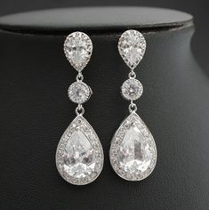 Bridal Jewelry Wedding Jewelry Bridal Earrings Wedding Earrings Silver Cubic Zirconia Posts with Large Pear Cut Cubic Zirconia Drops on Etsy, $55.00