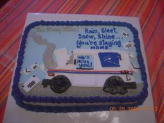 - This is the retirement cake I made for the local post office. Their vehicles were always breaking down so thats the theme of the cake, lol. TFL.