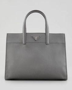 V1QMX Prada Saffiano Soft Tote Bag, Gray