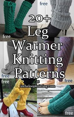 Knitting Patterns for Legwarmers and Leggings. Most patterns are free - These knitting patterns for legwarmers and leggings are a fast way to dress up your fall and winter wardrobe. They also make quick gifts!