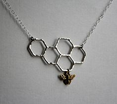 Sweets for the Sweet- Sterling Silver Honeycomb Necklace by Rachel Pfeffer