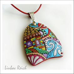 Hand Painted Leather Pendant  Leather Art Necklace  by Liukas, $25.00