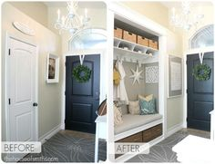 Entryway Closet Makeover from House of Smiths. Totally want to do with my hall closet. Interior Decorating Blog, Entryway Closet, Home Diy, Home, House Styles, Home Remodeling, New Homes, Home Projects, Closet Makeover