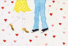 Together. Fern Choonet Water color illustration postcard.