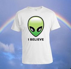 Alien Believe tote bag Custom T-shirt, print screen T-shirt, Awesome T-shirt for Men, Size S -- 5XL