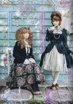 Page from Gothic Lolita Bible. Classic coord with white, black, and brown. #Lolita #GothicLolita #LolitaFashion #ClassicLolita