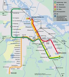 This is the Amsterdam Metro Transit Map. Shown here with over ground details, it is easy to read and does give a useful guide to life above ground. Transport Map, Public Transport, London Underground Tube Map, Amsterdam Map, Amsterdam Netherlands, Trains, Train Map, System Map, Metro Map