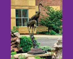 2. Sandhill Cranes | GREGORY JOHNSON   •   GEORGIA | Bronze and Granite | Gregory Johnson creates sculptures that are so life-like that children and adults may often be found smiling, laughing and talking to them. He believes in animated, softly detailed compositions. The works are realistically modeled and maintain classical proportions. Most often, the birds are sculpted as a pair or a family, to suggest interaction and create interest. | Sell Price: $15,000
