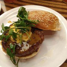 Napa Valley Burger @ Bobby's Burger Palace ( Bobby Flay's)...... This Delicious food  has Goat Cheese & Watercress topping  a Great  Burger  ....... Whoa!
