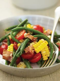 Green Bean and Corn Salad Recipes Corn Salad Recipes, Corn Salads, Salad Dressing Recipes, Raw Food Recipes, Vegetable Recipes, Healthy Recipes, Green Bean Salads, Green Beans, Raw Vegetables