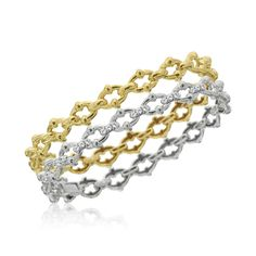 18K Gold Mazza link Stackable Bangles Designed By The Mazza Company