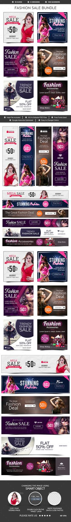 Fashion Sale Banners Templates PSD Bundle - 6 Sets. Download here: http://graphicriver.net/item/fashion-sale-banners-bundle-6-sets/15633748?ref=ksioks