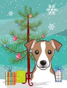 Christmas Tree and Jack Russell Terrier Flag Garden Size BB1632GF