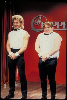 Patrick Swayze & Chris Farley compete to be Chippendales dancers Chris Farley, Patrick Swayze, Famous Photos, Saturday Night Live, Writer, The Past, People, Snl, Dancers