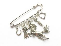 Horse lovers gift, Big Safety Pin, Kilt Pin, Charm Brooch, equestrian theme, country theme, horseriding, horse gift, personalised gift, UK https://www.etsy.com/listing/474124383/horse-lovers-gift-big-safety-pin-kilt?utm_source=crowdfire&utm_medium=api&utm_campaign=api
