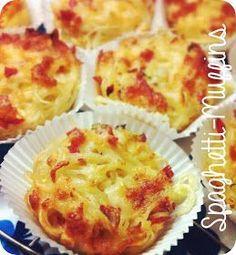 250 Gramm Spaghetti al dente kochen und abkühlen lassen bzw. kalte Reste verwenden. Eine 12er Muffinform gründlich einfetten bzw. mit Olivenöl auspinseln. Die Pasta portionsweise mit einer Gabel (oder der Hand ;-) eindrehen und auf die Förmchen verteilen. Eine Lauchzwiebel oder eine halbe Zwiebel sowie eine Knoblauchzehe klein hacken, drei/vier Scheiben Salami und eine halbe Zucchini würfeln. Was die einzelnen Geschmackszutaten angeht, kann man natürlich auf das zurückgreifen......