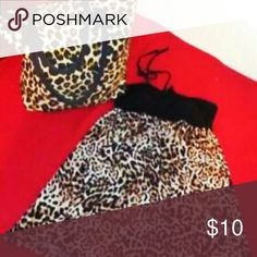 Dress and Bag Cheetah Print Halter top Dress, Silky Stretchy Material, Size Small and Cheetah Print Canvas Type Tote Bag Dresses Mini